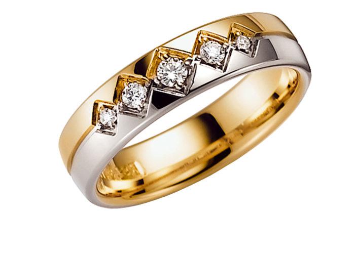 Laulību-gredzeni-ar-briliantu-Divkrāsu gredzeni, Laulību gredzeni, Gredzeni no baltā zelta