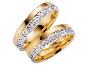 Divkrāsu laulību gredzeni, dzeltenā un baltā zelta divkrāsu gredzeni