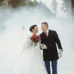 ziemas kāzas, dūmi kāzu fotosesijā