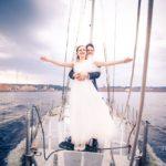 kāzu fotosesija, jahta kāzās