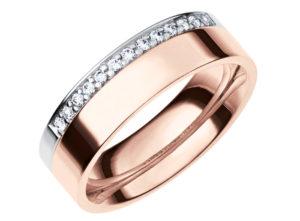 rozā zelta laulību gredzei, laulību gredzeni ar briljantu, saderināšanās gredzeni
