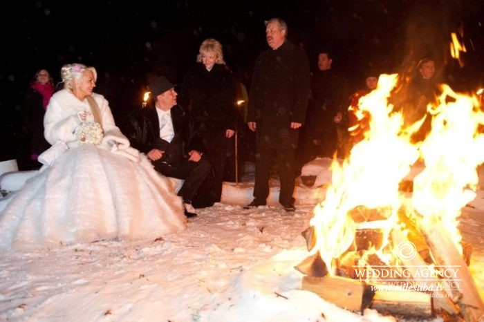 ziemas kāzas, ugunskurs kāzās