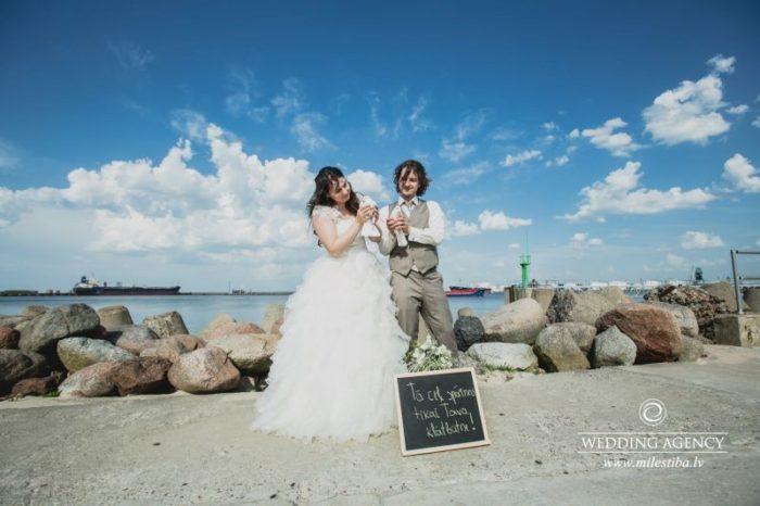 skaisti kāzu foto, kāzas Ventspilī, kāzu foto pie jūras