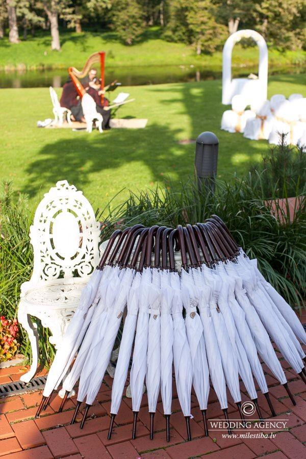 kāzu noformējumi, balti lietussargi kazās, kāzu vadīšana franču valodā