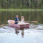 laiva kāzās, jaunais pāris laivā