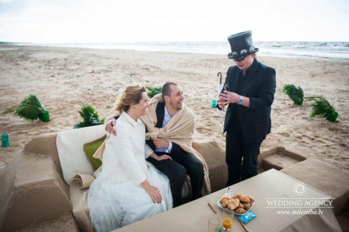 iluzionists kāzās, kāzas pie jūras