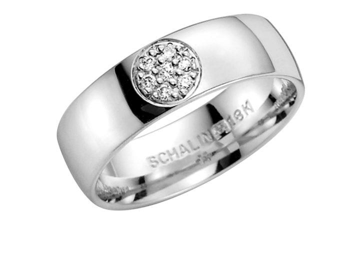 Schalins gredzeni, saderināšanās gredzeni, baltā zelta gredzeni ar briljantiem
