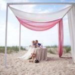 jaunais pāris pie jūras, internacionālas kāzas