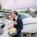 lidmašīna kāzās, jaunais pāris
